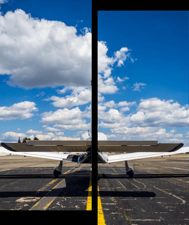 avion prêt à décoller sur la piste ciel clair sky explorer ecole aviation aix les milles