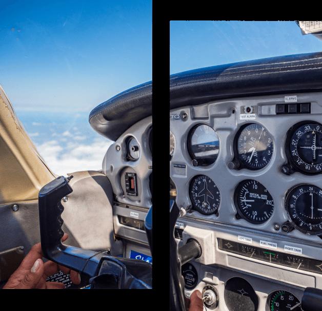 vue avion pilotage sky explorer ecole aviation aix les milles